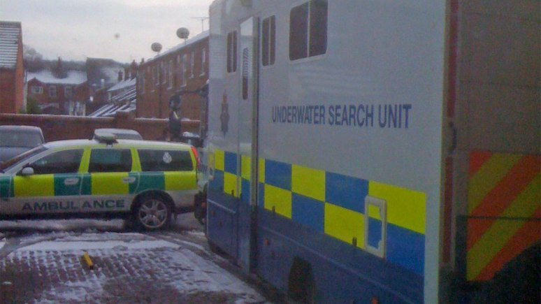 The Lincolnshire Police underwater search unit at the end of Russell Street in Lincoln on December 27. Photo: Sergejs Prusakovs