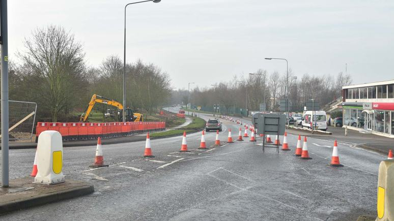 Five months of disruptive works began on Canwick Road on Monday, January 5. Photo: Steve Smailes for The Lincolnite