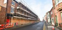 Scaffolding is in place on the former Gatsbys/Bridge McFarland buildings. Photo: Steve Smailes for The Lincolnite