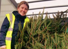 Becky Otter, Event Manager for St Barnabas Lincolnshire Hospice leads the Christmas tree collection service.