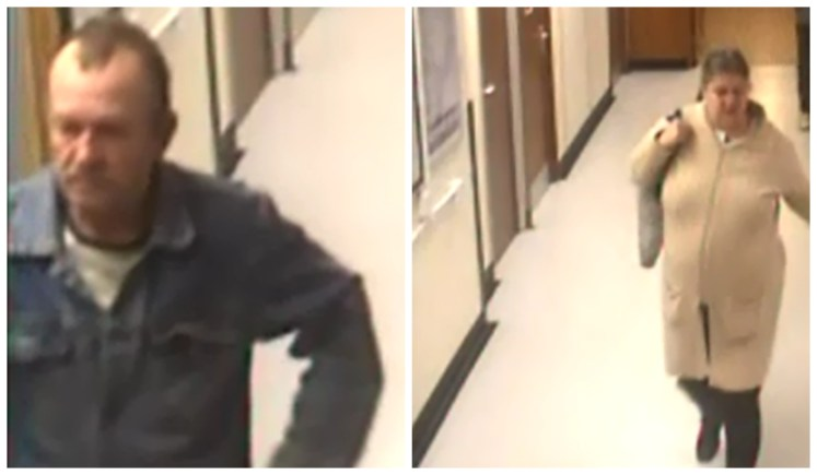 Police are looking to speak to the two people pictured in connection with a handbag theft at Lincoln County Hospital.