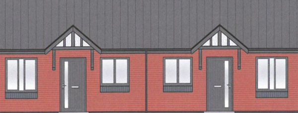 A visual of part of the Birchwood council bungalows development.