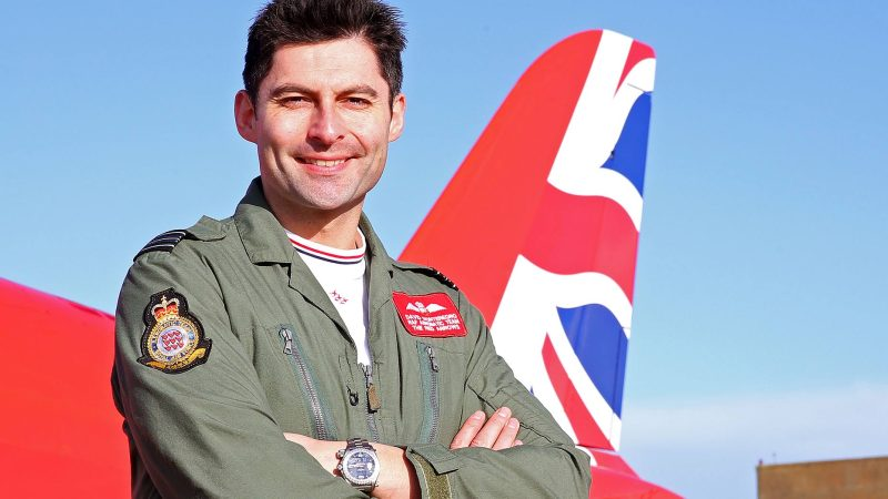 Squadron Leader David Montenegro, Red 1 and Team Leader of the Royal Air Force Aerobatic Team, with the new Union flag tailfin. Photo Craig Marshall, MoD/Crown Copyright 2015.
