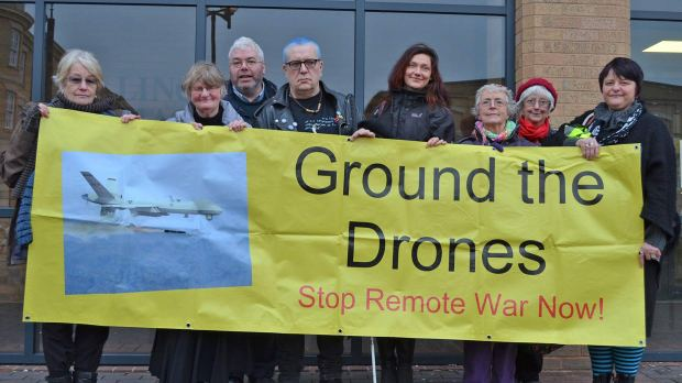 The four protesters who broke into RAF Waddington with their supporters outside court.