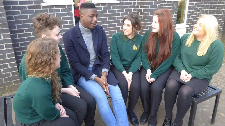 The Voice 2014 winner Jermain Jackman speaking to students at North Kesteven School