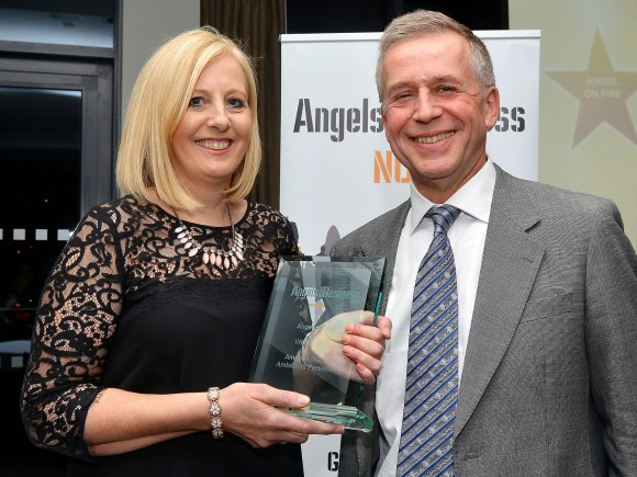 Amanda Watson, Managing Director of Ambitions Personnel presented the Angel on Fire award by John Mitchell, Managing Partner of Sills & Betteridge LLP. Photo: Mick Fox