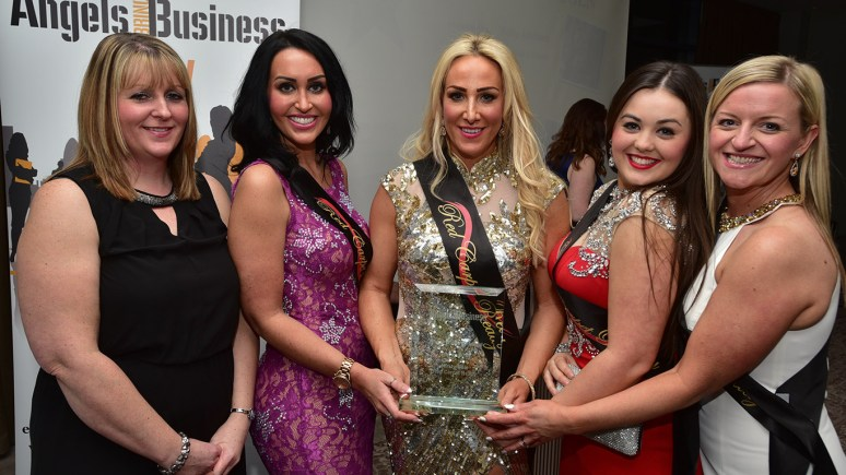 Vicky Addison, Head of Business Incubation & Growth at the University of Lincoln presented Kirsty Gale and staff at Red Carpet Ready receiving their award of Angels Wings Unfurled. Photo Steve Smailes for The Lincolnite