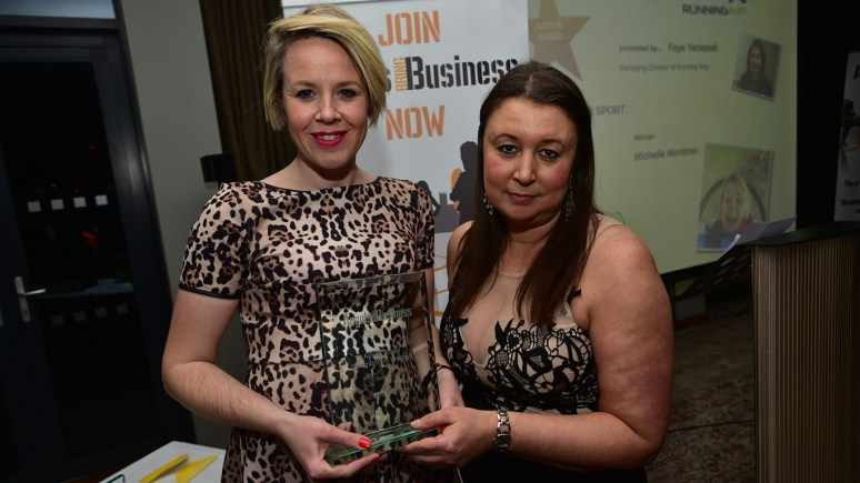 Running Imp International Managing Director Faye Yarwood presented the Active Angel Award to co-winner Michelle Mortimer, Founder of Witham Runners. Photo Steve Smailes for The Lincolnite