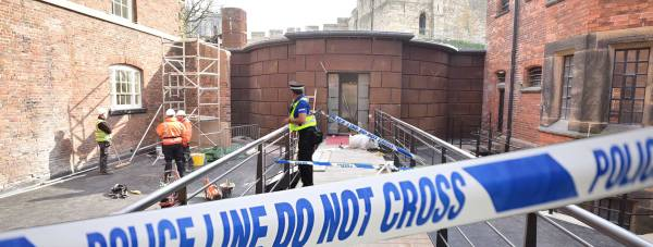 Police cordoned off the area around the Magna Carta vault after the shocking theft of the priceless document.