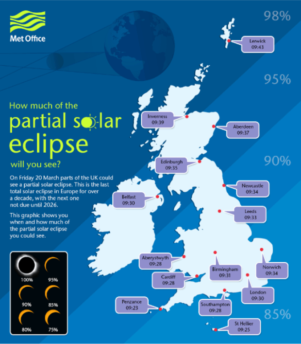 People across the UK will see the eclipse differently. Image: Met Office