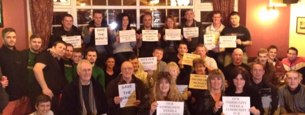 Locals in The Monson Arms Pub on Skellingthorpe Road campaigning against its closure.