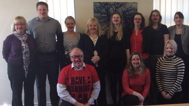 Insurance brokers at Thompson & Richardson enjoying Red Nose Day