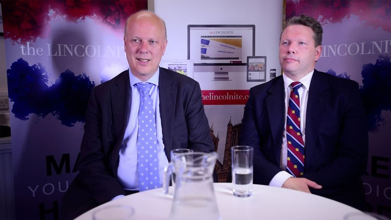 Lord Chancellor Chris Grayling with Conservative parliamentary candidate for Lincoln Karl McCartney