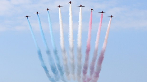 Aircraft of the Royal Air Force Aerobatic Team, the Red Arrows, perform the Mirror Roll – a move that is part of the Squadron's 2015 show. MoD/Crown Copyright 2015