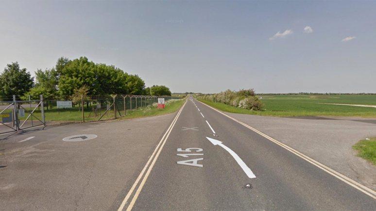 The A15 next to RAF Waddington. Image: Google Street View
