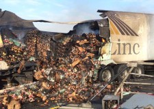 The FreshLinc lorry burst into flames after the crash on the. Photo: Phil Vickers