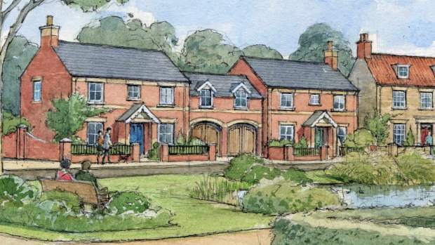 An artist's impression of the proposed new estate on the eastern edge of Heighington