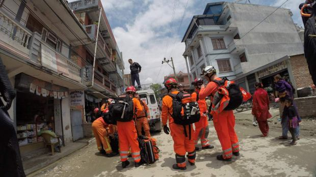 The UK International Search and Rescue Team in Nepal, led by Dave Ramscar.