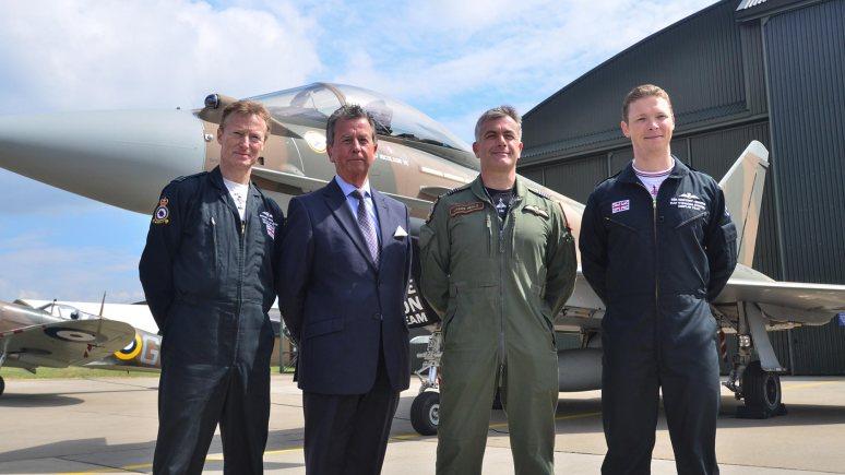 "L-R: Flt Lt Antony ""Parky"" Parkinson BBMF Spitfire Pilot, Jim Nicolson, James Heald and Ben Westoby-Brooks. Photo: Steve Smailes for The Lincolnite"