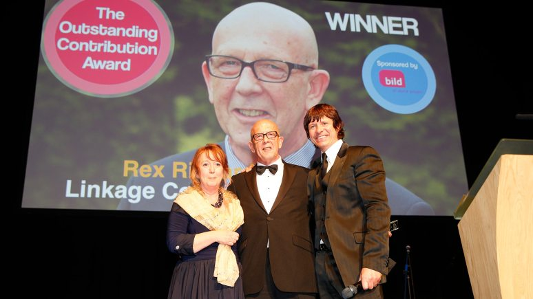 Rex Richardson with (left) Ann Chivers, chief executive of the British Institute of Learning Disabilities, and Steve Walls, compere