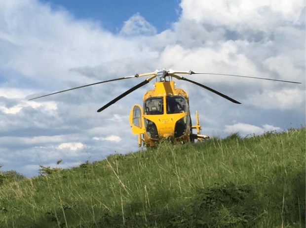 The air ambulance landed on Ermine East Hill after the crash on the A46. Photo: Nathan Bryans