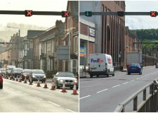 Canwick Road during (left) and after (right) the five month project