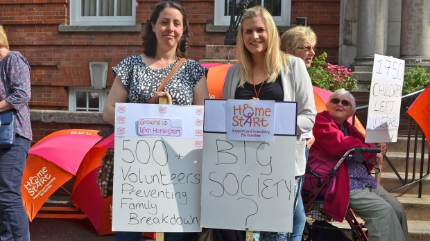 Volunteers demonstrated outside the Lincolnshire County Council offices on Friday, June 5.