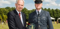 RAF Waddington Cpl Sam Plant  receiving his third place award from duos across the UK. Photo: RAF Waddington