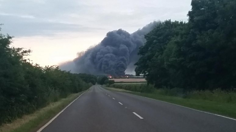 Around 4,000 bales of waste are on fire at the recycling plant in Ancaster. Photo: Simon Meadows