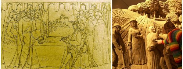 Designs have been revealed (left) for the giant sand sculpture in Lincoln.
