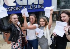 Students from Lincoln College overjoyed at their A-Level results. Photo: Steve Smailes for The Lincolnite