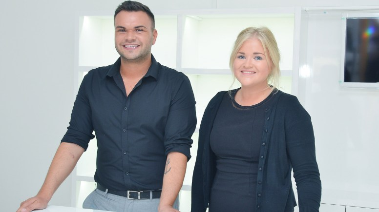 (L-R) Intraderma owner Nick Metcalfe with Banks Long & Co Surveyor Harriet Hatcher in the Nick's new unit, which is currently being fitted out.