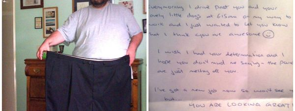 Jonathan, who has lost almost nine stone,has been united with the writer of the letter.