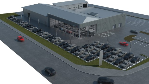 A computer generated image of the new Audi showroom on Doddington Road