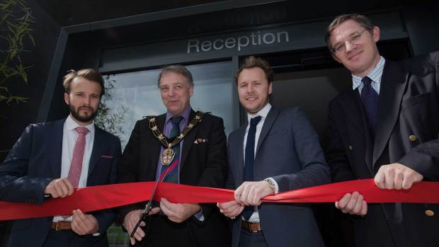 (L-R) Cameron Jackson, Mayor of Lincoln Councillor Andrew Kerry, Dominik Jackson and Martyn Richardson of Richardsons Capital LLP (project partners)