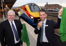 Transport Secretary Patrick McLoughlin and Neil Micklethwaite launching the scheme in Derby on October 19.