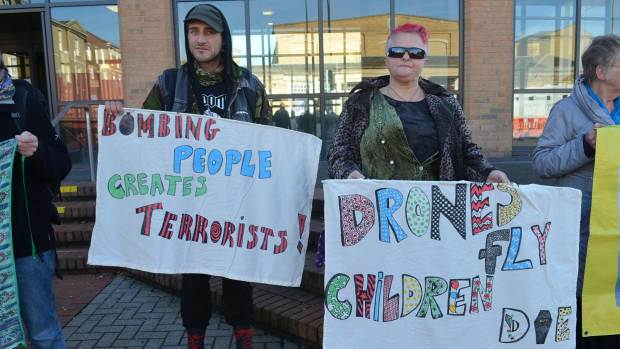 Anti-drone campaigners outside court showing their support for the defendants before the trial. Photo: The Lincolnite