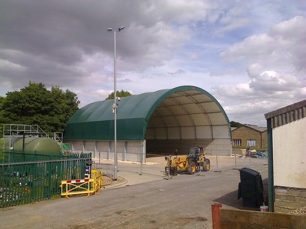 The new salt barn at Willingham Hall highways depot near Market Rasen