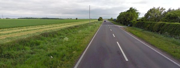 The fatal collision happened on the A15 at Ashby de la Launde on Sunday, November 29. Photo: Google Street View