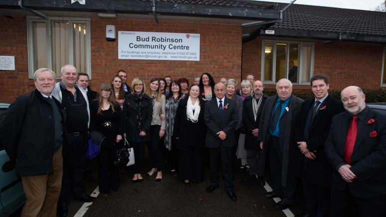 Family of Bud Robinson and councillors at the official ceremony to mark the renaming of the community centre in Bracebridge. Photo: Steve Smailes for The Lincolnite