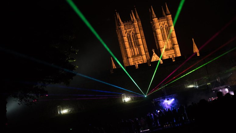 The Frequency Festival ended with a finale light show at Lincoln Castle. Photo: Steve Smailes for The Lincolnite