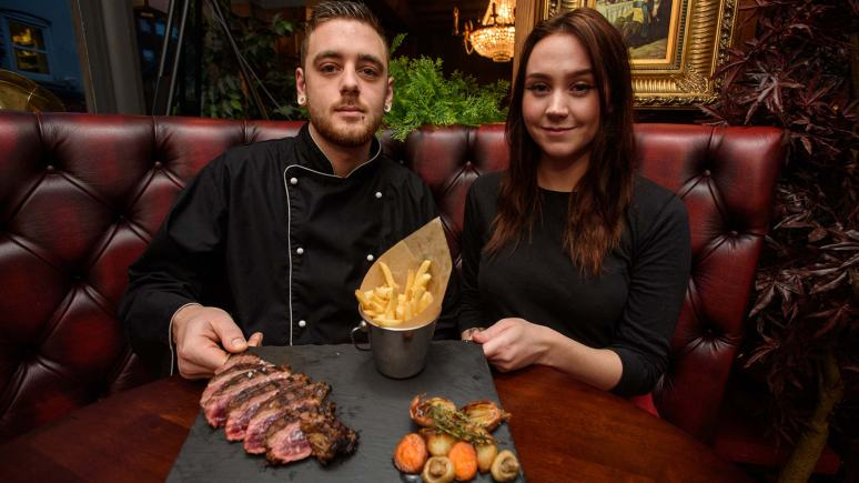 Tom Rose, head chef, with waitress Ellice Quinn. Photo: Steve Smailes for The Lincolnite