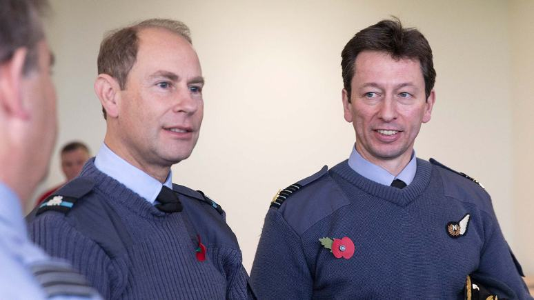 Prince Edward with RAF Waddington Station Commander, Group  Captain Rich Barrow