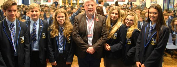 """Simon Weston visited Lincoln Castle Academy on Monday, November 9. Photo"""" The Lincolnite"""