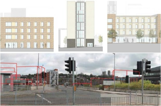 Designs for the new blocks of flats.