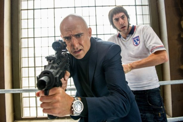 Mark Strong and Sacha Baron Cohen in Grimsby. Photo by Sony Pictures Entertainment.