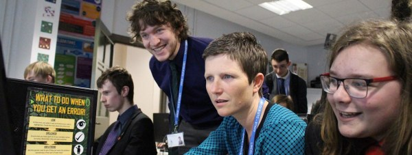 Lincoln UTC Principal Rona Mackenzie being taught how to play Minecraft. Photo: Year 13 student Ben Clark