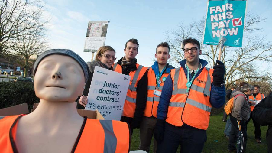 Junior doctors on the picket line outside Lincoln County Hospital on February 10. Photo: Steve Smailes for The Lincolnite