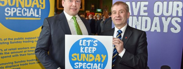 Karl McCartney MP at a Keep Sunday Special campaign meeting in Parliament with John Hannett, the General Secretary of the UK's of the shopworkers' trade union, Usdaw
