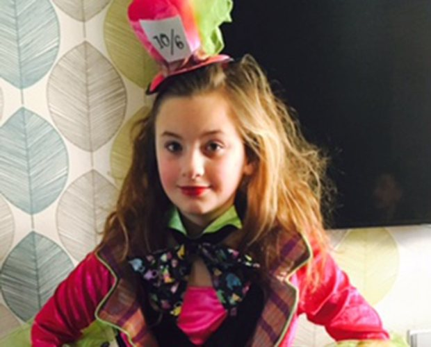 Lilly Brown dressed up as the Mad Hatter